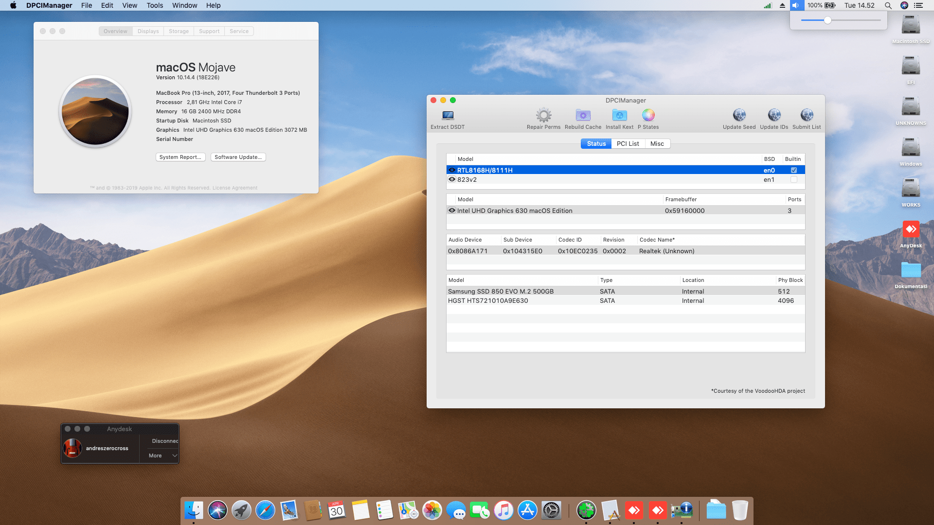 Success Hackintosh macOS Mojave 10.14.4 Build 18E226 at Asus ROG GL553VD-FY380
